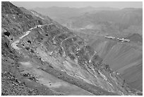 Terraces in open-pit mine, Morenci. Arizona, USA ( black and white)