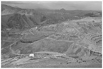 Open pit copper mining, Morenci. Arizona, USA ( black and white)