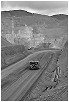 Truck with ore in copper mine, Morenci. Arizona, USA ( black and white)