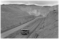 Truck with copper ore in open pit Morenci mine. Arizona, USA ( black and white)