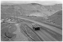 Mining truck carrying rocks, Morenci. Arizona, USA ( black and white)