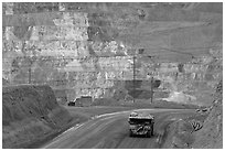 Truck and copper mine terraces, Morenci. Arizona, USA ( black and white)