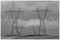 High voltage power lines. Arizona, USA (black and white)