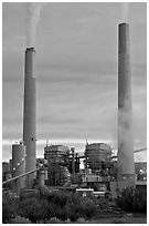 Smokestacks, Cholla generating station,. Arizona, USA (black and white)