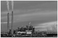 Coal fired generating station at dusk, near Holbrook. Arizona, USA (black and white)
