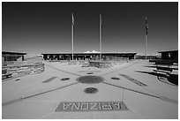 Four Corners Quadripoint. Four Corners Monument, Arizona, USA ( black and white)