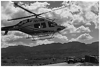 Helicopter at road accident site. Four Corners Monument, Arizona, USA ( black and white)
