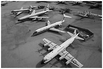 Aerial view of retired aircraft, Pima Air and space museum. Tucson, Arizona, USA ( black and white)