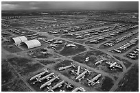 Aerial view of Aircraft Maintenance and Regeneration Group Boneyard. Tucson, Arizona, USA ( black and white)