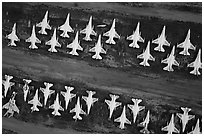 Aerial view of rows of fighter jets. Tucson, Arizona, USA ( black and white)