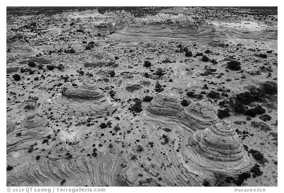 Aerial view of Cottonwood Teepees, Coyotte Buttes South. Vermilion Cliffs National Monument, Arizona, USA (black and white)