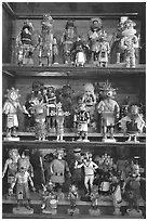 Ritual Hopi Kachina figures. Hubbell Trading Post National Historical Site, Arizona, USA (black and white)