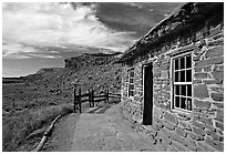 West Cabin and Vermillion Cliffs. Pipe Spring National Monument, Arizona, USA (black and white)