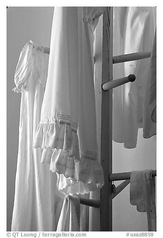 Hanging white clothes. Pipe Spring National Monument, Arizona, USA (black and white)