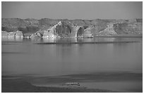 Lake Powell and Castle Rock at dusk, Glen Canyon National Recreation Area, Arizona. USA (black and white)