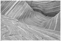 The Wave, main formation, seen from the top. Vermilion Cliffs National Monument, Arizona, USA ( black and white)