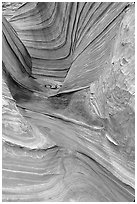 The Wave, side formation. Vermilion Cliffs National Monument, Arizona, USA ( black and white)
