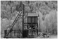 Mining structure and hillside with aspens. Colorado, USA (black and white)