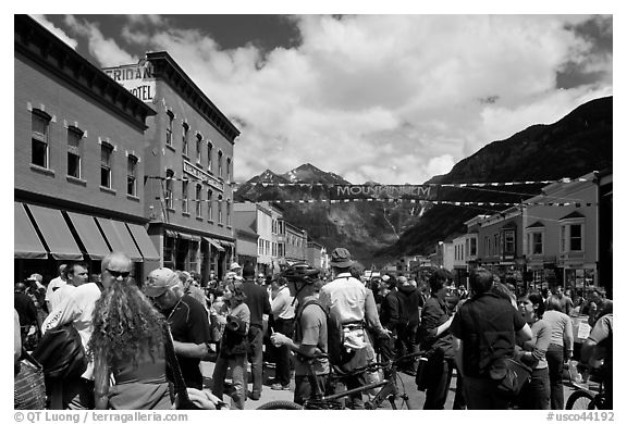 Crowds on main street during Mountain film festival. Telluride, Colorado, USA