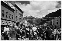Crowds on main street during Mountain film festival. Telluride, Colorado, USA ( black and white)