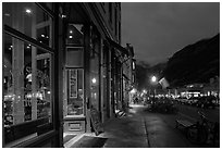Main street by night. Telluride, Colorado, USA ( black and white)