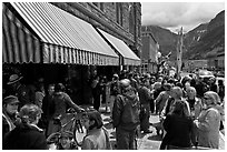People gathering in front of movie theater. Telluride, Colorado, USA ( black and white)