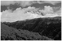 Snowy Mt Wilson emerging from clouds in the spring. Colorado, USA ( black and white)
