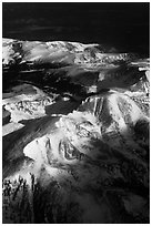 Aerial view of Rocky Mountains in winter. Colorado, USA ( black and white)