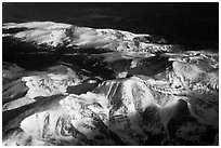 Aerial view of Rocky Mountains with snow. Colorado, USA ( black and white)