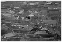 Aerial view of agricultural lands, Front Range. Colorado, USA ( black and white)
