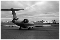 Jet taxiing, Denver International Airport. Colorado, USA ( black and white)