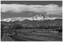 Rocky Mountains from Front Range in winter. Colorado, USA ( black and white)