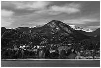 View of Estes Park across Lake Estes. Colorado, USA ( black and white)