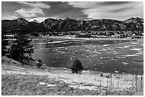 Estes Lake and Estes Park in late winter. Colorado, USA ( black and white)