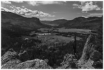 Rocks and valley with autumn colors, Pagosa Springs. Colorado, USA ( black and white)