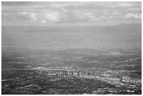 Aerial view of Denver and front range. Colorado, USA ( black and white)