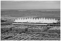Aerial view of Denver International Airport main concourse. Colorado, USA ( black and white)