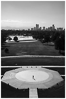 City Park and skyline. Denver, Colorado, USA ( black and white)