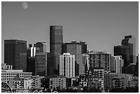 City skyline and moon. Denver, Colorado, USA ( black and white)