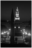 Civic Center Park and Lindsey-Flanigan courthouse at night. Denver, Colorado, USA ( black and white)