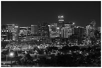 Bridge and city skyline at night. Denver, Colorado, USA ( black and white)
