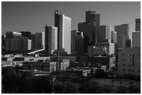 Historic buildings and dowtown skyline. Denver, Colorado, USA ( black and white)