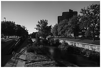 Pathway along Cherry Creek. Denver, Colorado, USA ( black and white)