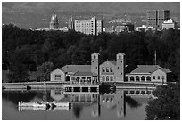 City Park Pavilion and skyline with capitol and cathedral. Denver, Colorado, USA ( black and white)