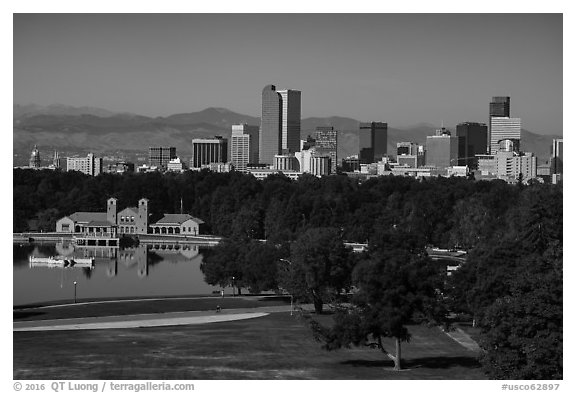 City Park, skyline, and Rocky Mountains. Denver, Colorado, USA (black and white)
