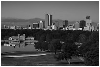 City Park, skyline, and Rocky Mountains. Denver, Colorado, USA ( black and white)