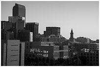City skyline at sunrise. Denver, Colorado, USA ( black and white)