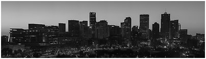 Skyline at dawn. Denver, Colorado, USA (Panoramic black and white)