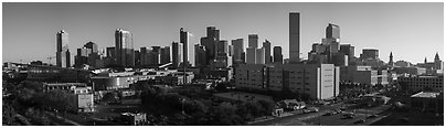 Skyline with state capitol. Denver, Colorado, USA (Panoramic black and white)