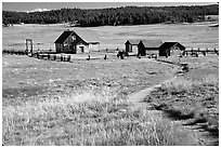 Historic barns,  Florissant Fossil Beds National Monument. Colorado, USA ( black and white)